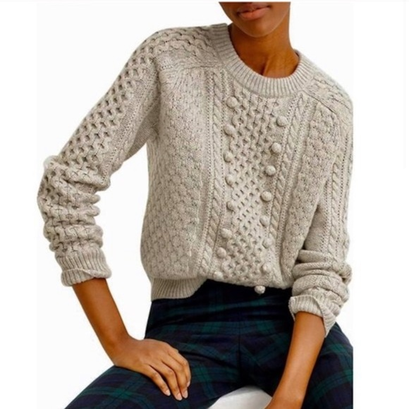 J. Crew Popcorn Cable Knit Wool Sweater Gray Med